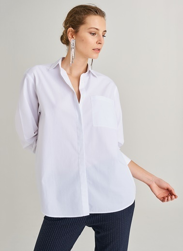 People By Fabrika Oversize Cepli Gömlek Beyaz